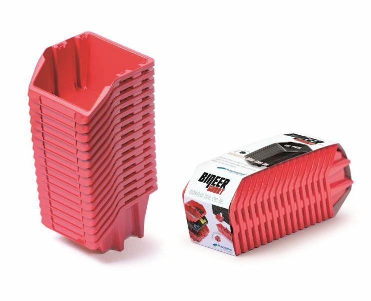 Set plastových úložných boxů 16ks BINEER SHORT SET 234x77x92 červený PROSPERPLAST