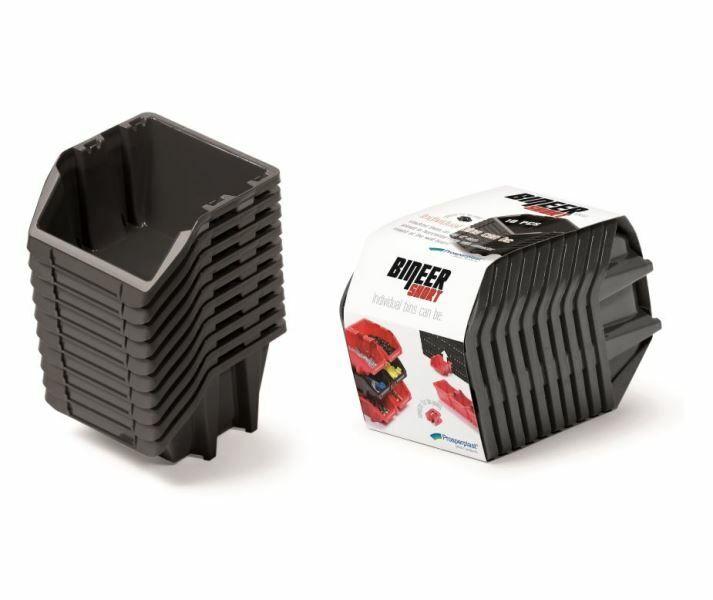 Set plastových úložných boxů 10ks BINEER SHORT SET 180x98x118 černý PROSPERPLAST