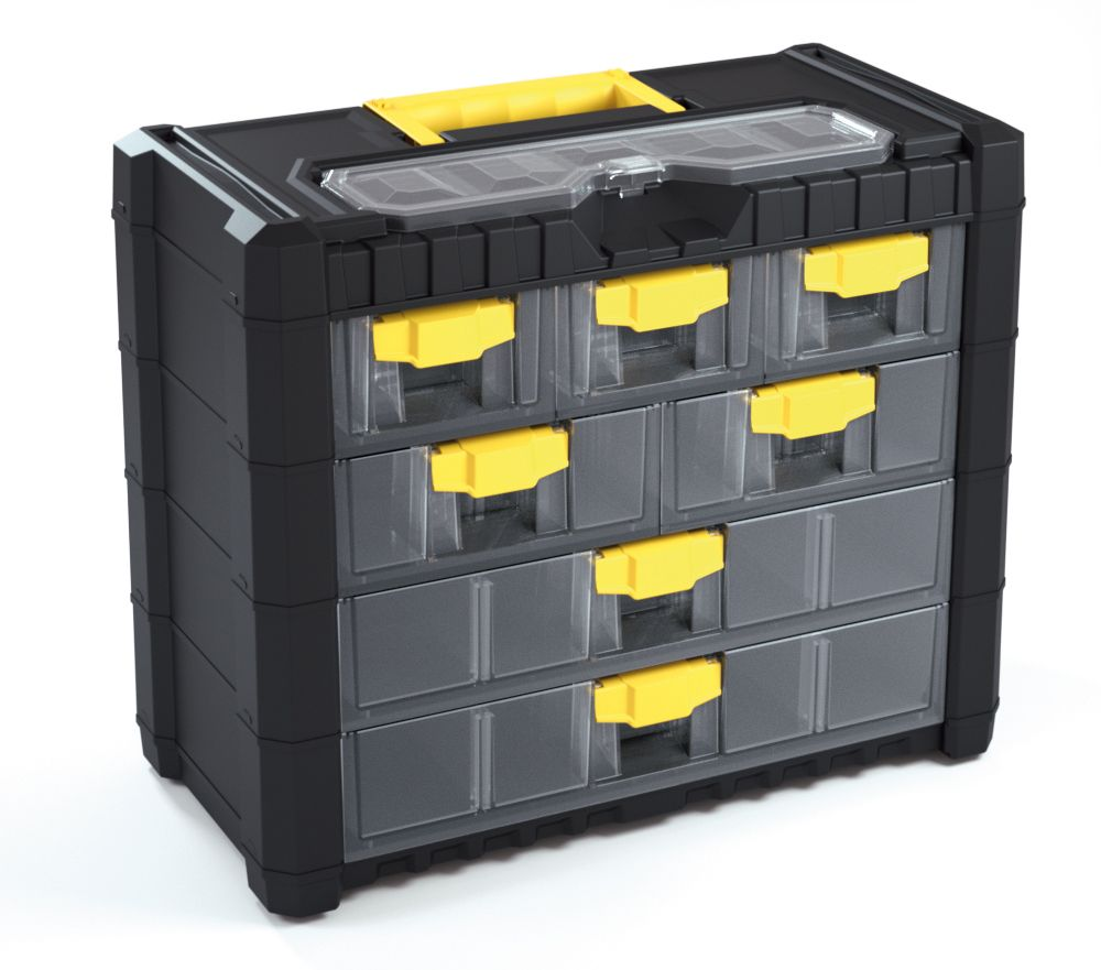 Plastový organizér na nářadí závěsný MULTICASECARGO 400x200x326, 7 zásuvek PROSPERPLAST