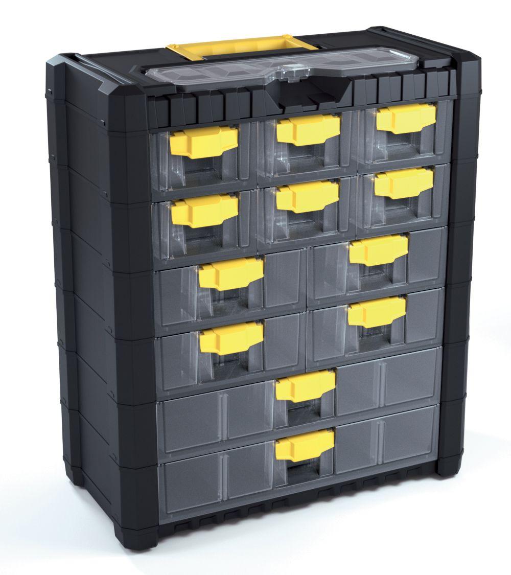 Plastový organizér na nářadí závěsný MULTICASECARGO 400x200x458, 12 zásuvek PROSPERPLAST