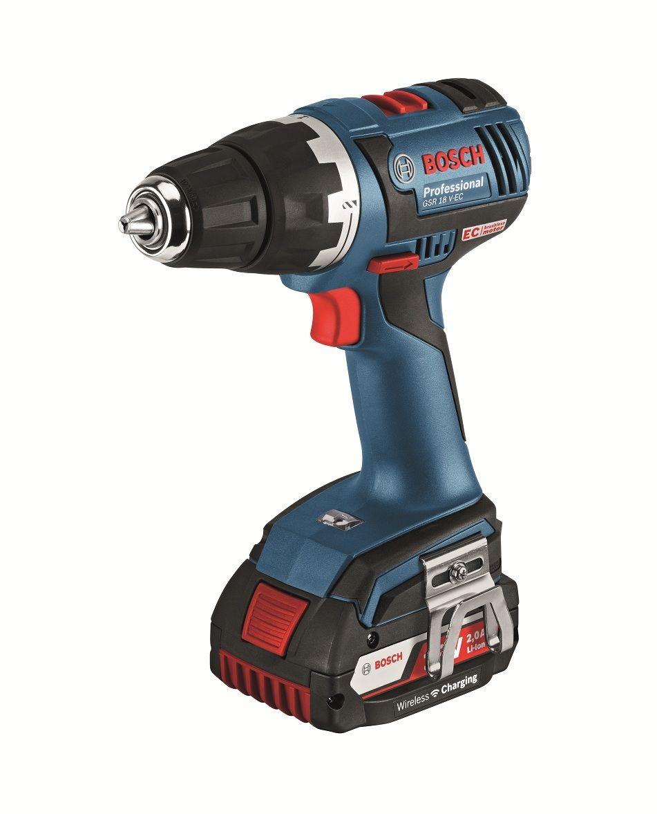 Aku vrtací šroubovák Bosch GSR 18 V-EC Professional, bezdrátová nabíječka, 06019D6105