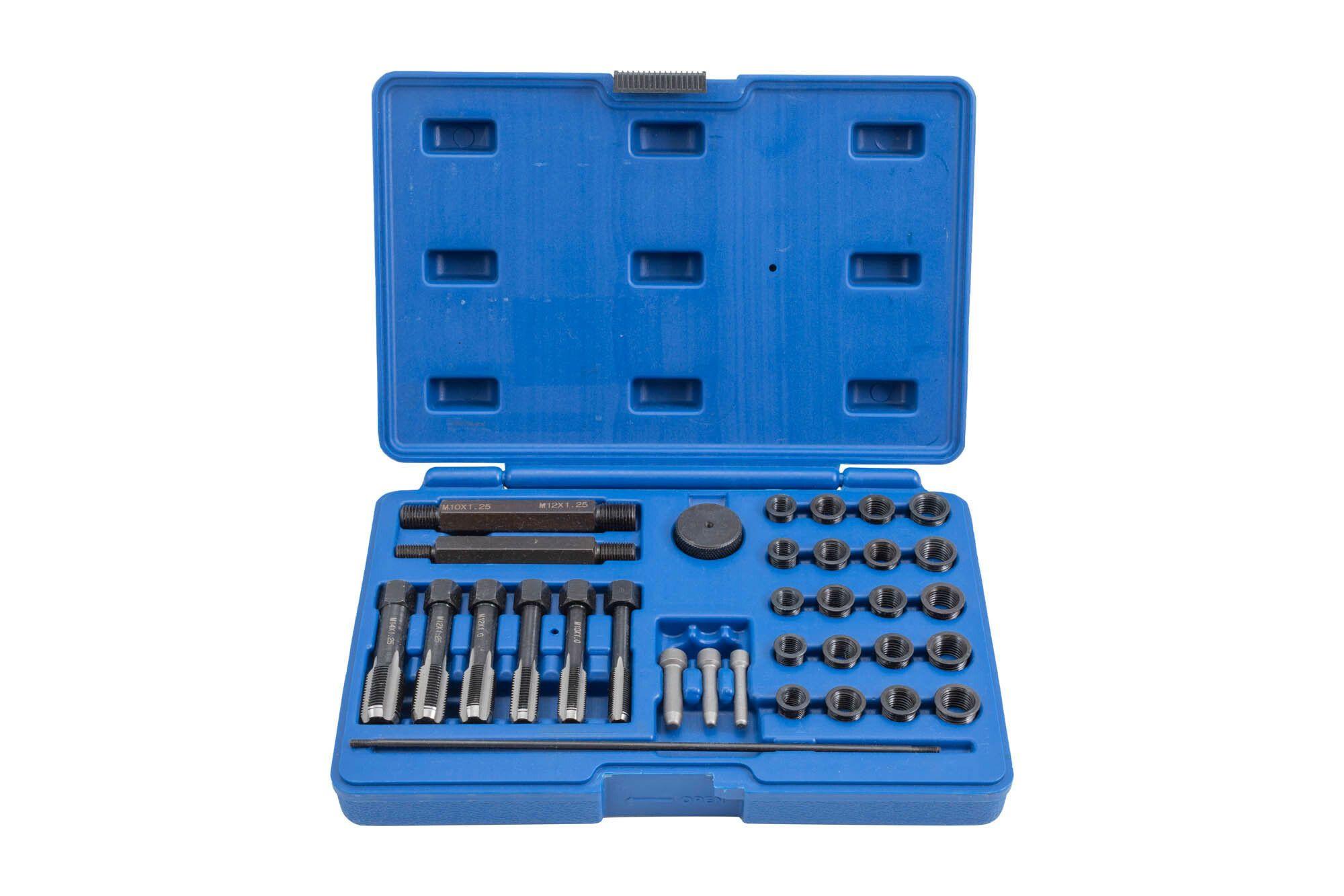Sada na opravu závitů žhavicích svíček M8x1, M10x1, M10x1.25, M12x1.25, 33 kusů QUATROS