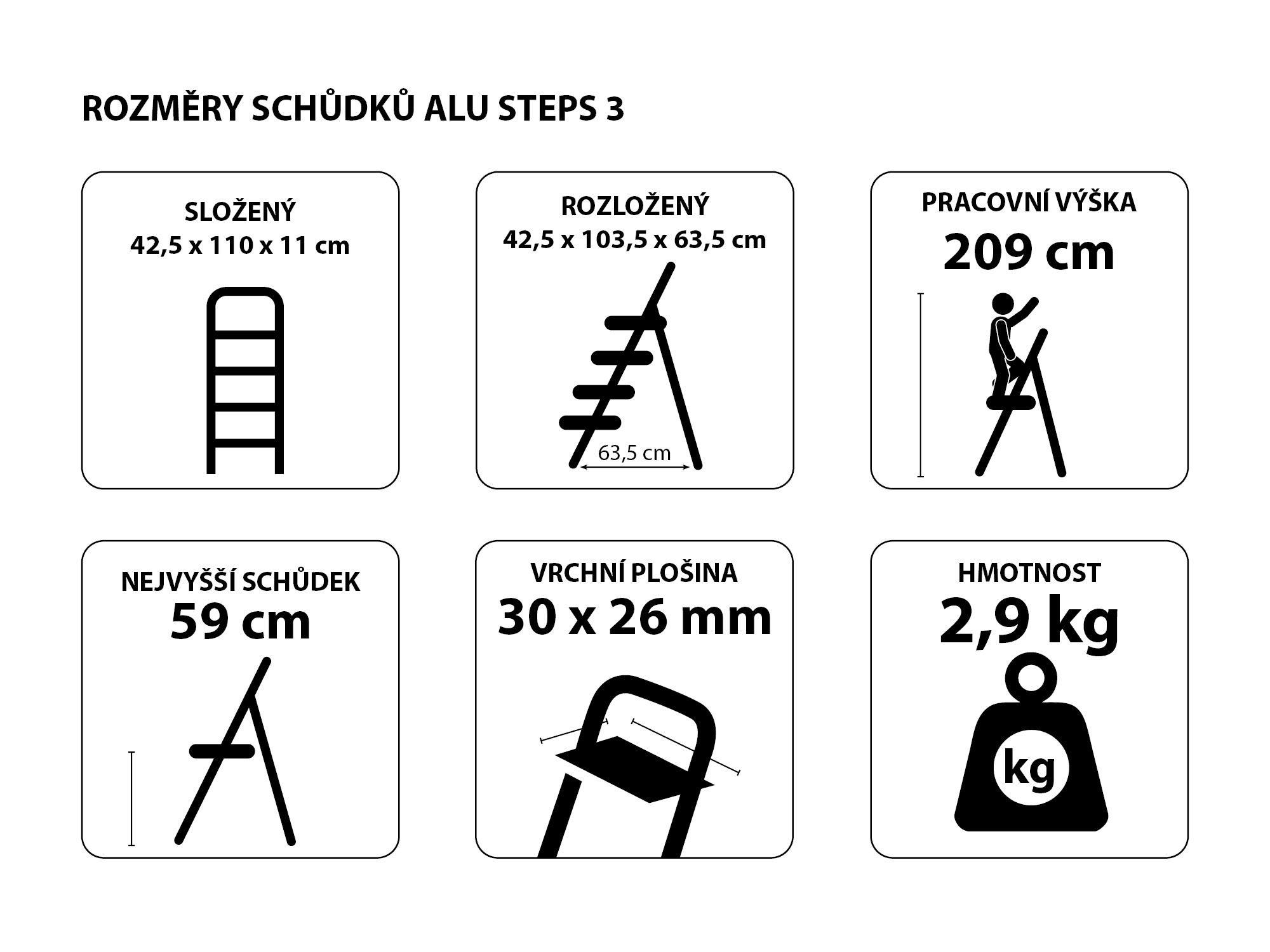 Schůdky hliníkové skládací ALU STEPS 3, 3 stupně, nejvyšší schůdek 59 cm, nosnost 120 kg SIXTOL