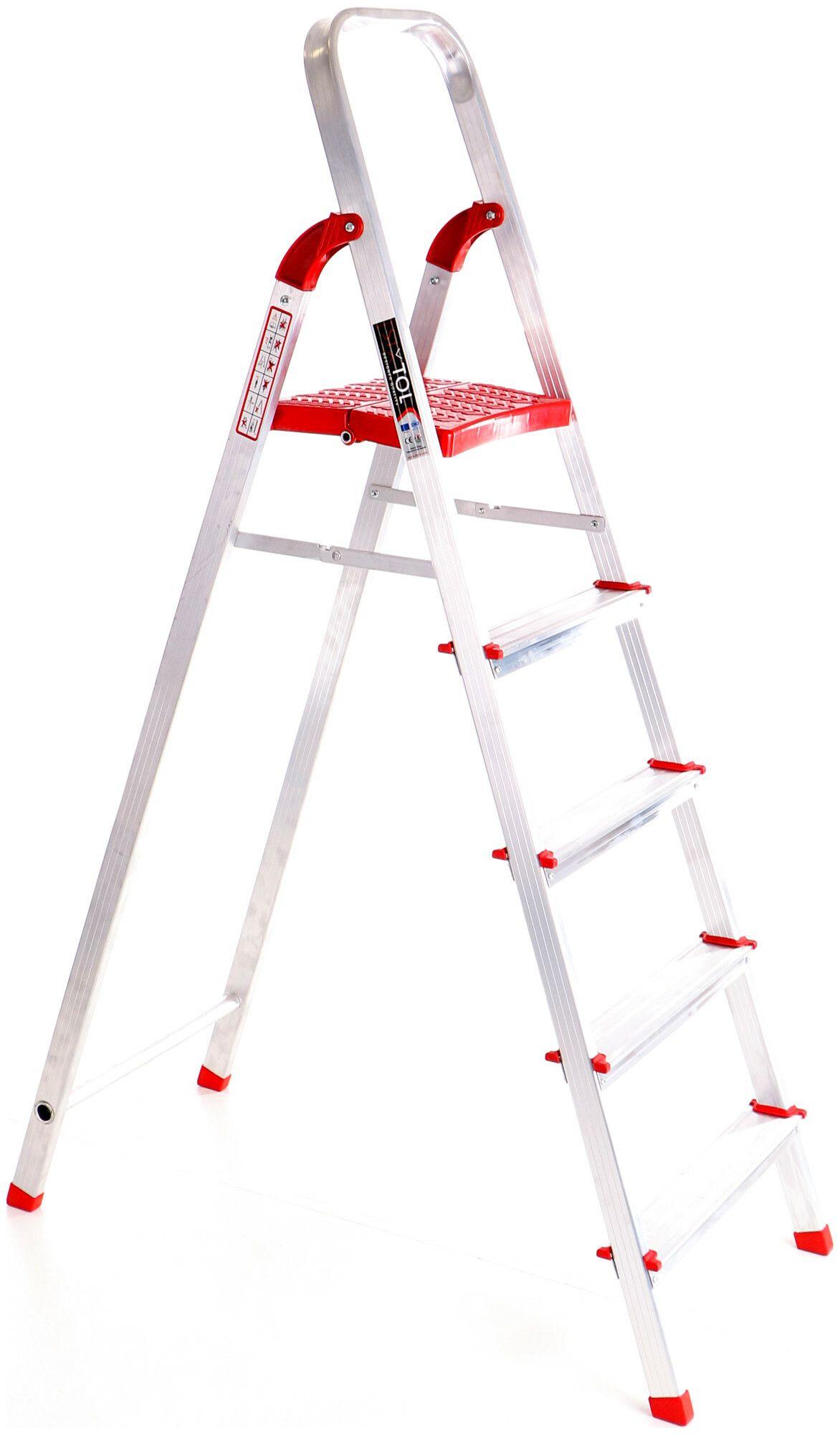 Schůdky hliníkové skládací ALU STEPS 5, 5 stupňů, nejvyšší schůdek 106 cm, nosnost 120 kg SIXTOL