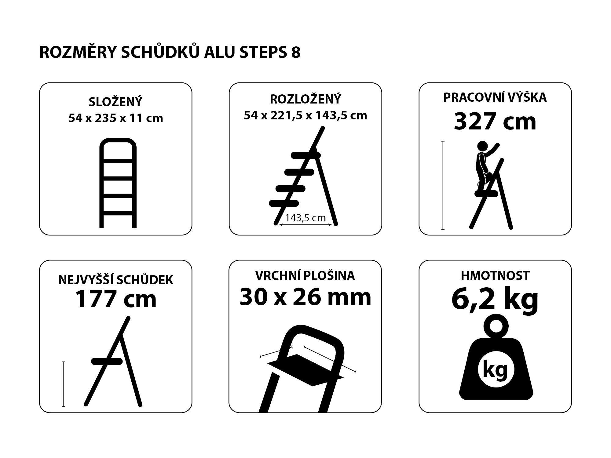 Schůdky hliníkové skládací ALU STEPS 8, 8 stupňů, nejvyšší schůdek 177 cm, nosnost 120 kg SIXTOL