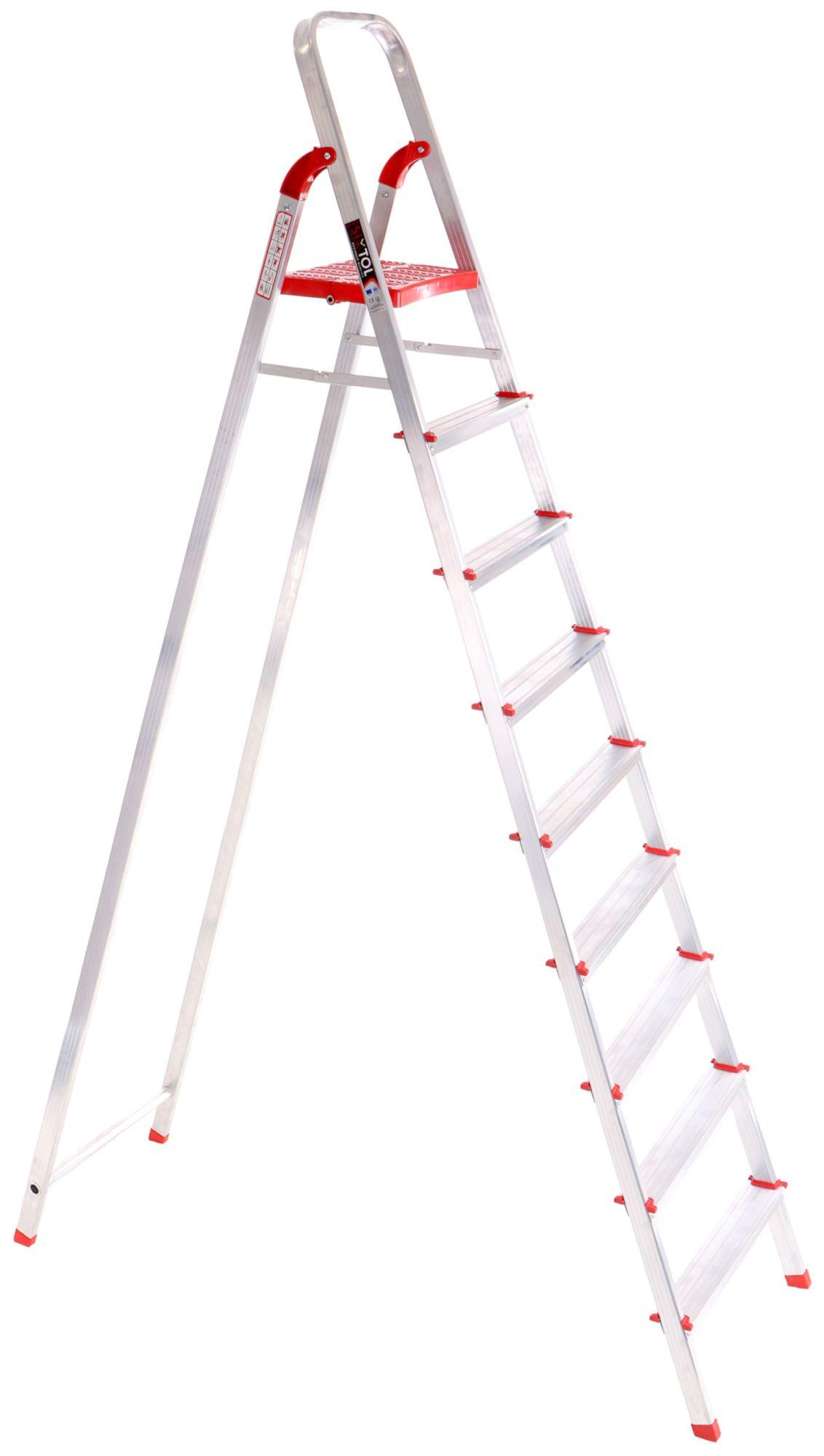 Schůdky hliníkové skládací ALU STEPS 9, 9 stupňů, nejvyšší schůdek 200 cm, nosnost 120 kg SIXTOL