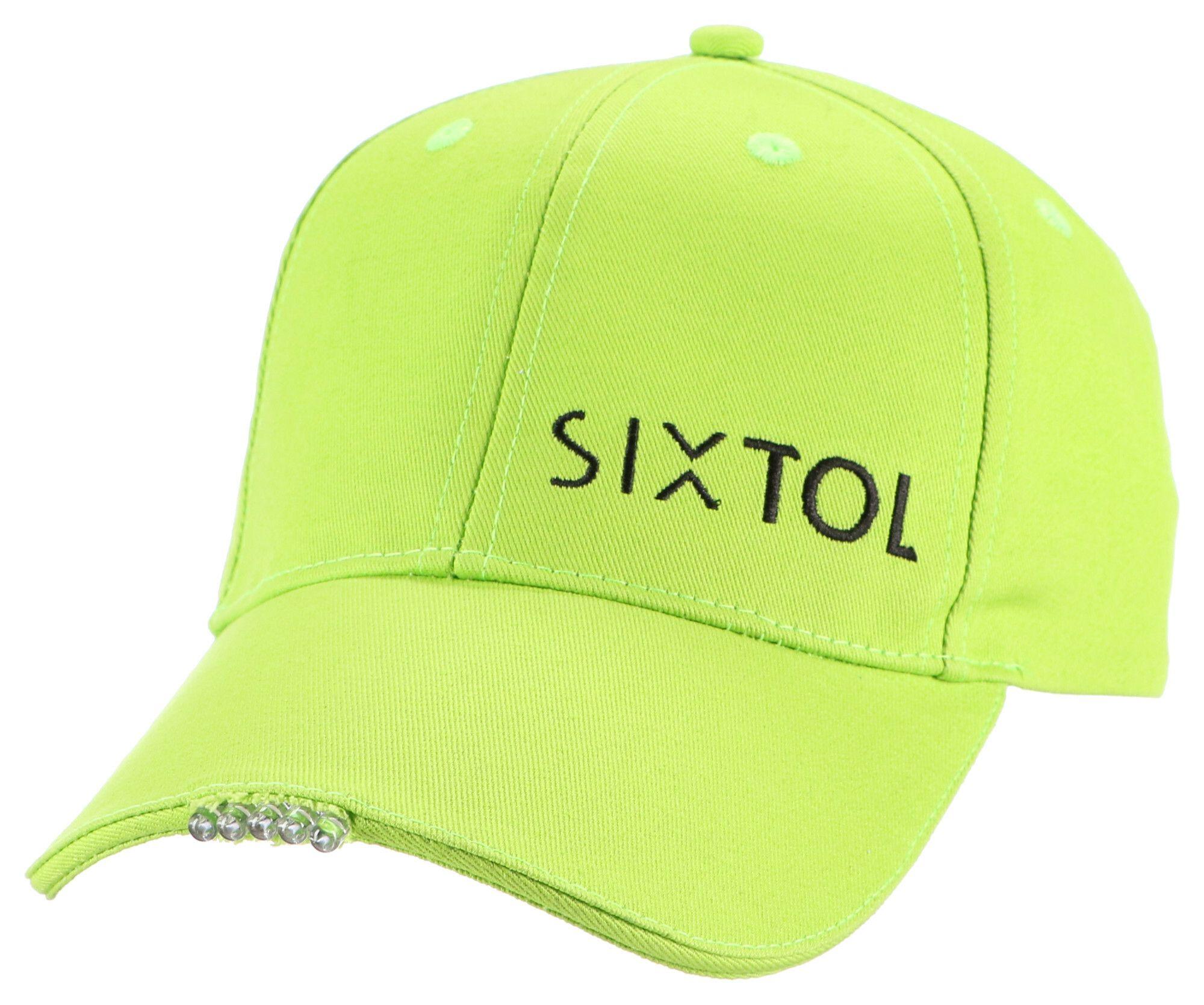 Kšiltovka s LED světlem B-CAP 25lm, nabíjecí, USB, uni velikost, fluorescentní zelená SIXTOL