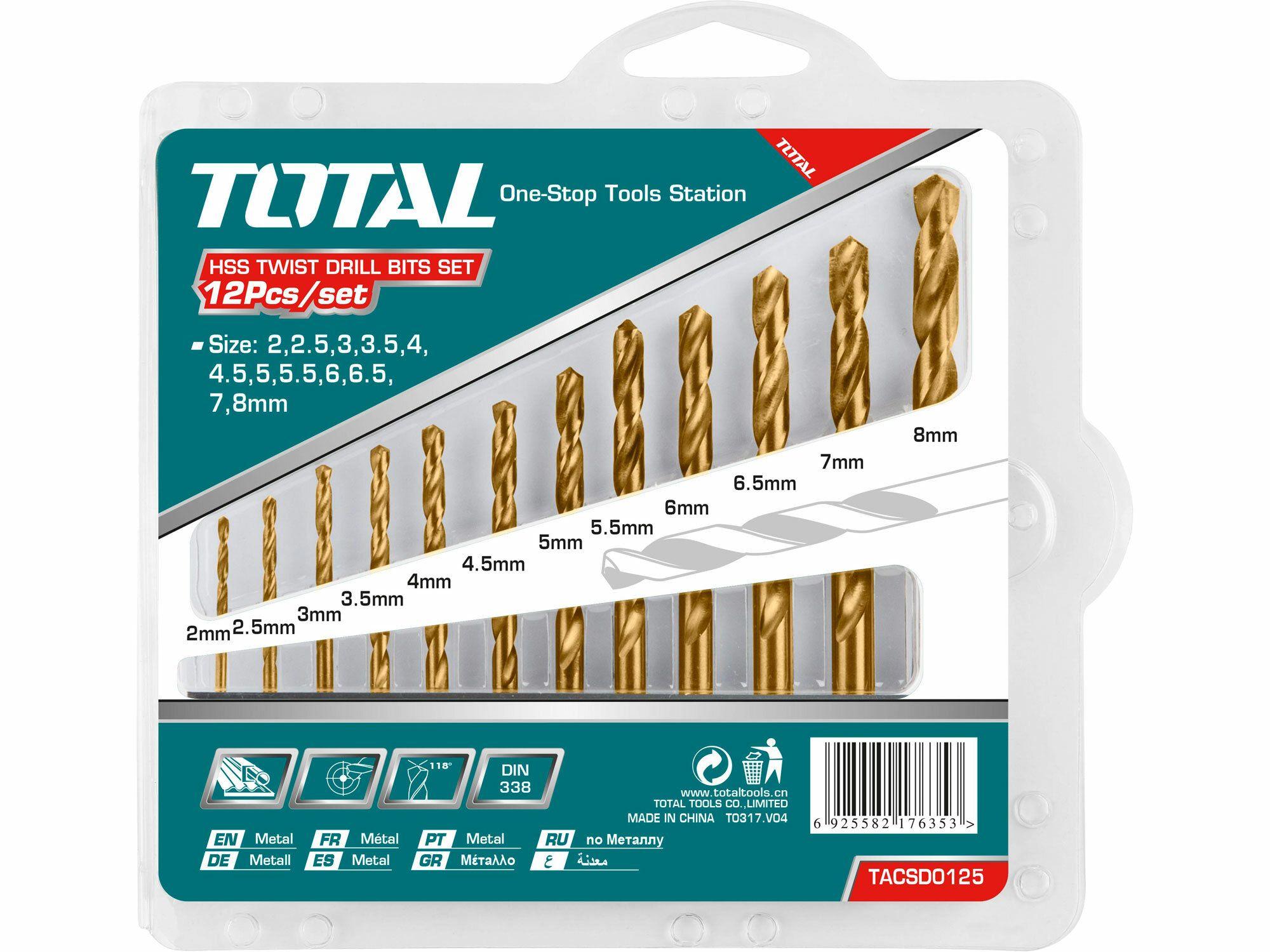 Vrtáky do kovu, sada 12ks TOTAL-TOOLS TACSD0125
