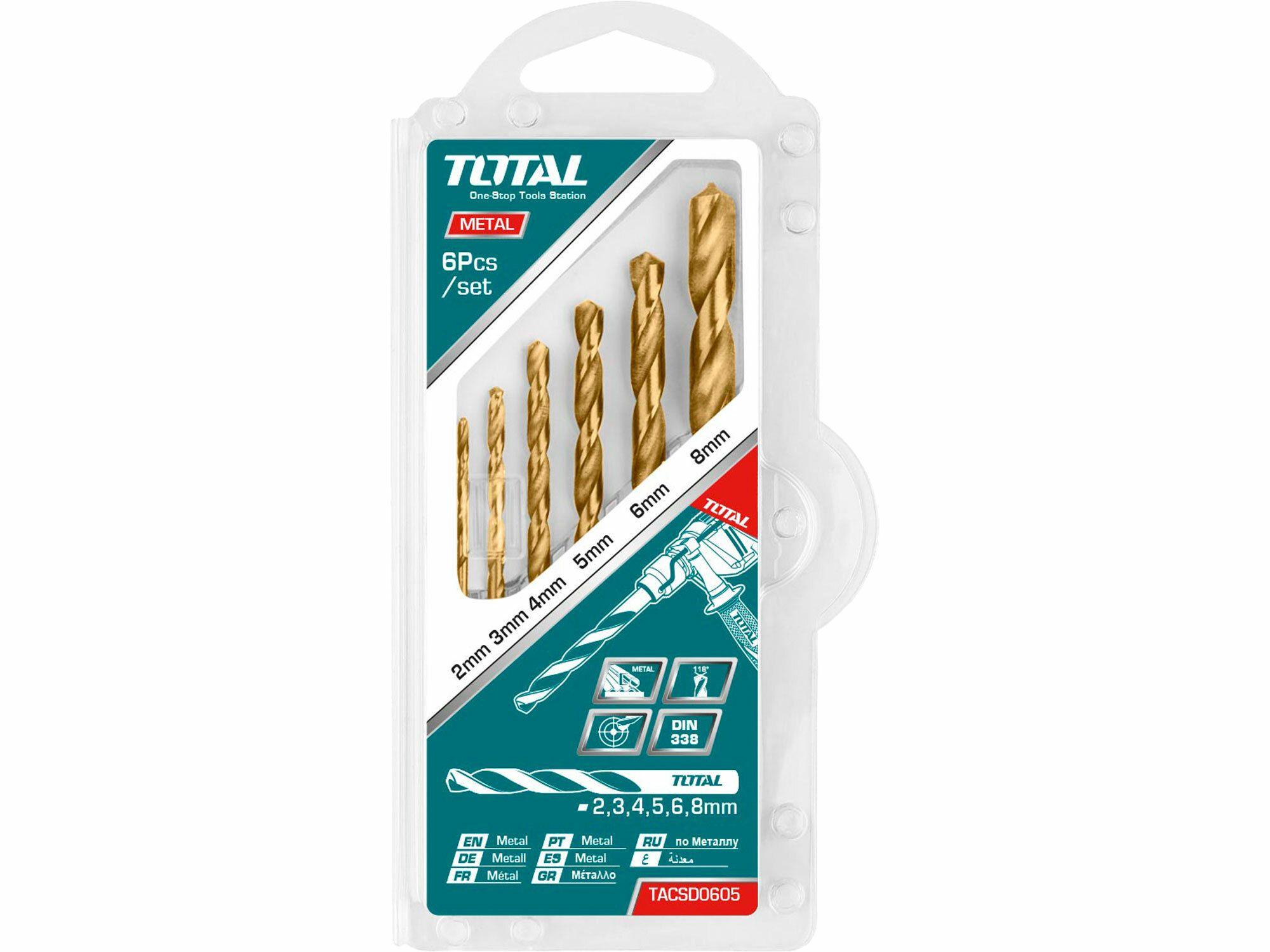 Vrtáky do kovu, sada 6ks TOTAL-TOOLS TACSD0605