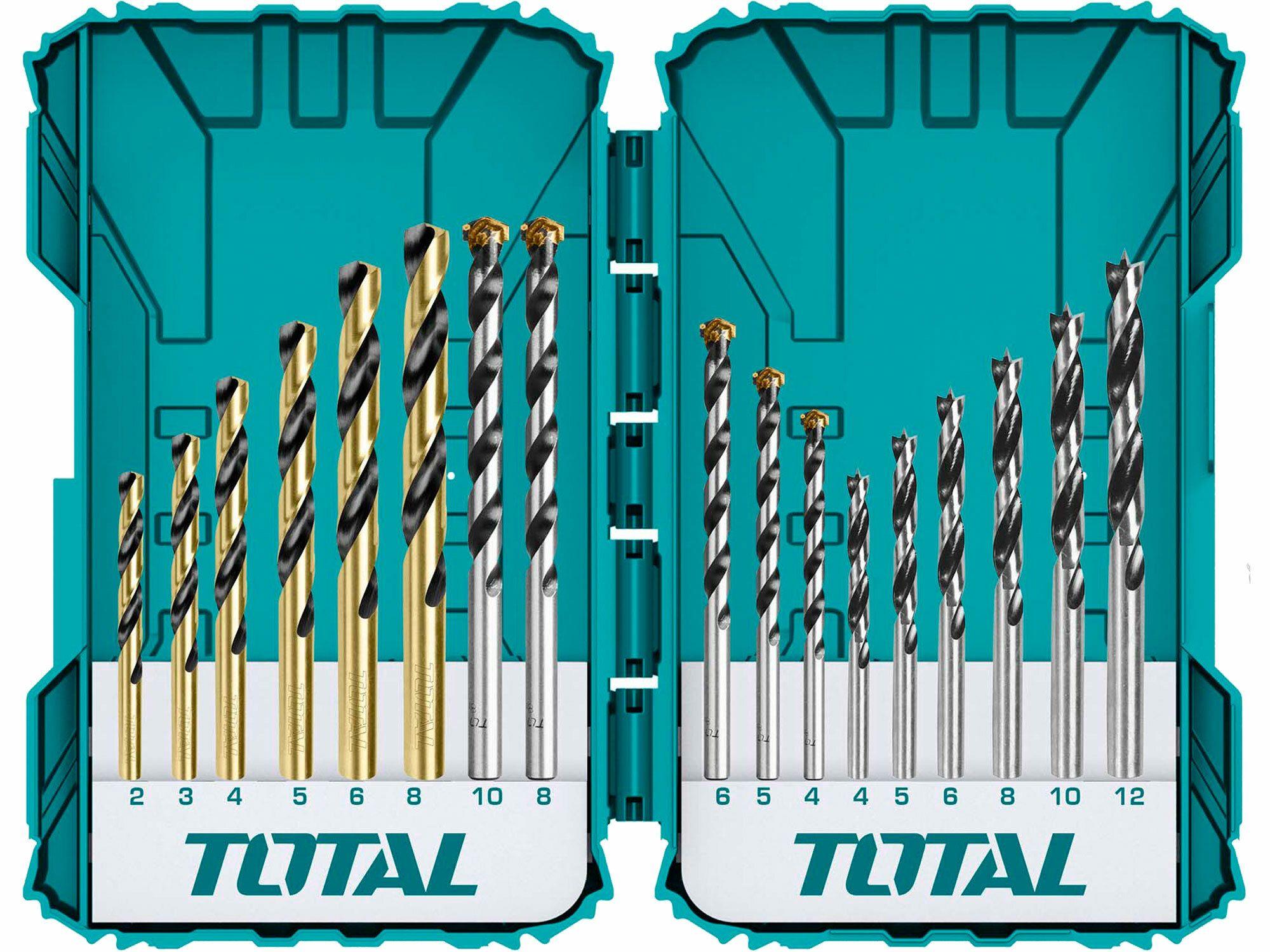 Vrtáky, kombinovaná sada, 16ks TOTAL-TOOLS