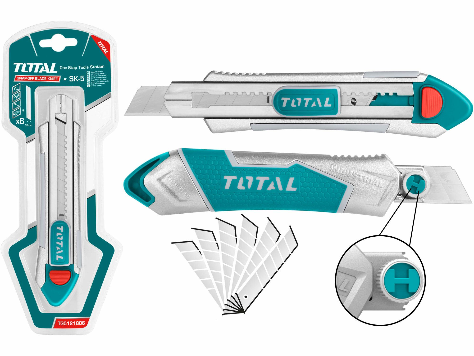 Nůž ulamovací kovový. 18mm. industrial TOTAL-TOOLS