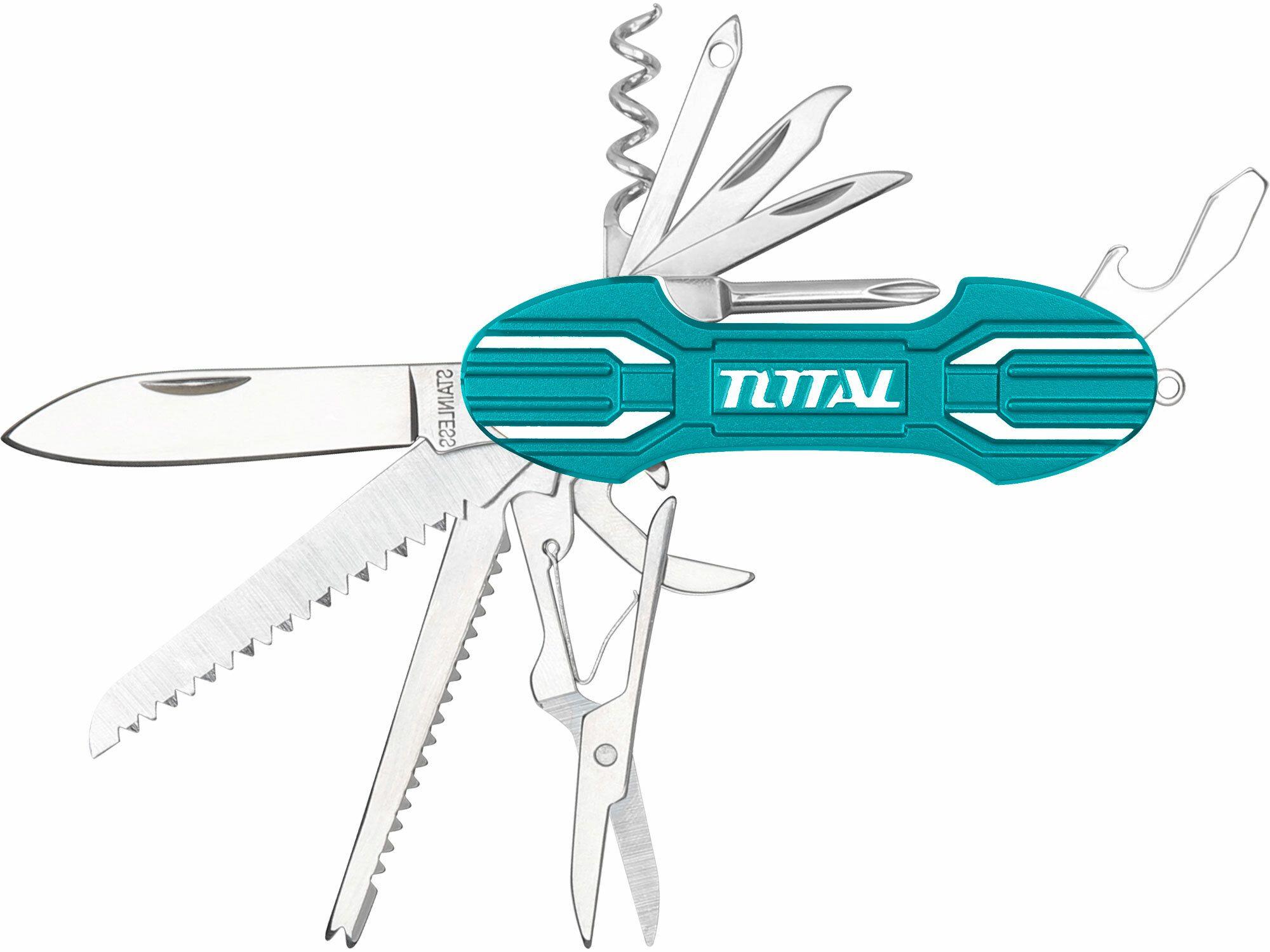 Nůž kapesní zavírací, 15 dílný, nerez, 95mm TOTAL-TOOLS