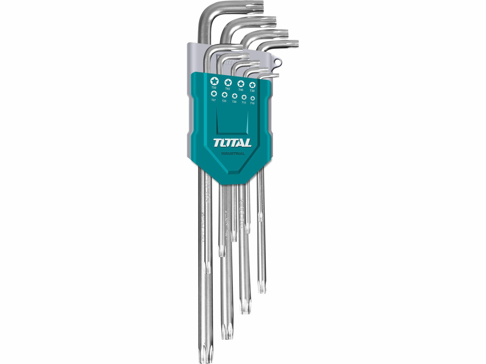 L-klíče TORX. sada 9ks. prodloužené. CrV. industrial TOTAL-TOOLS