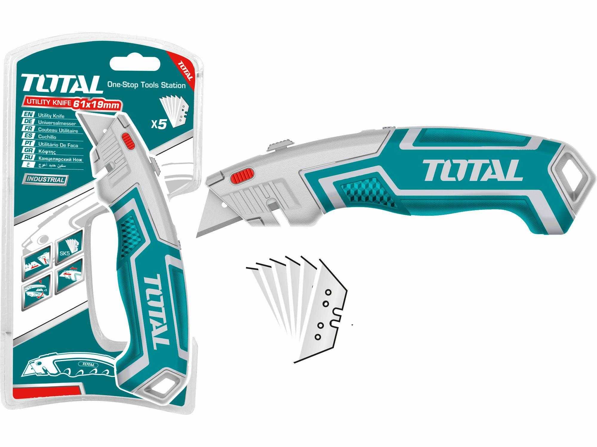 Kovový nůž s výměnným břitem. 19mm. industrial TOTAL-TOOLS