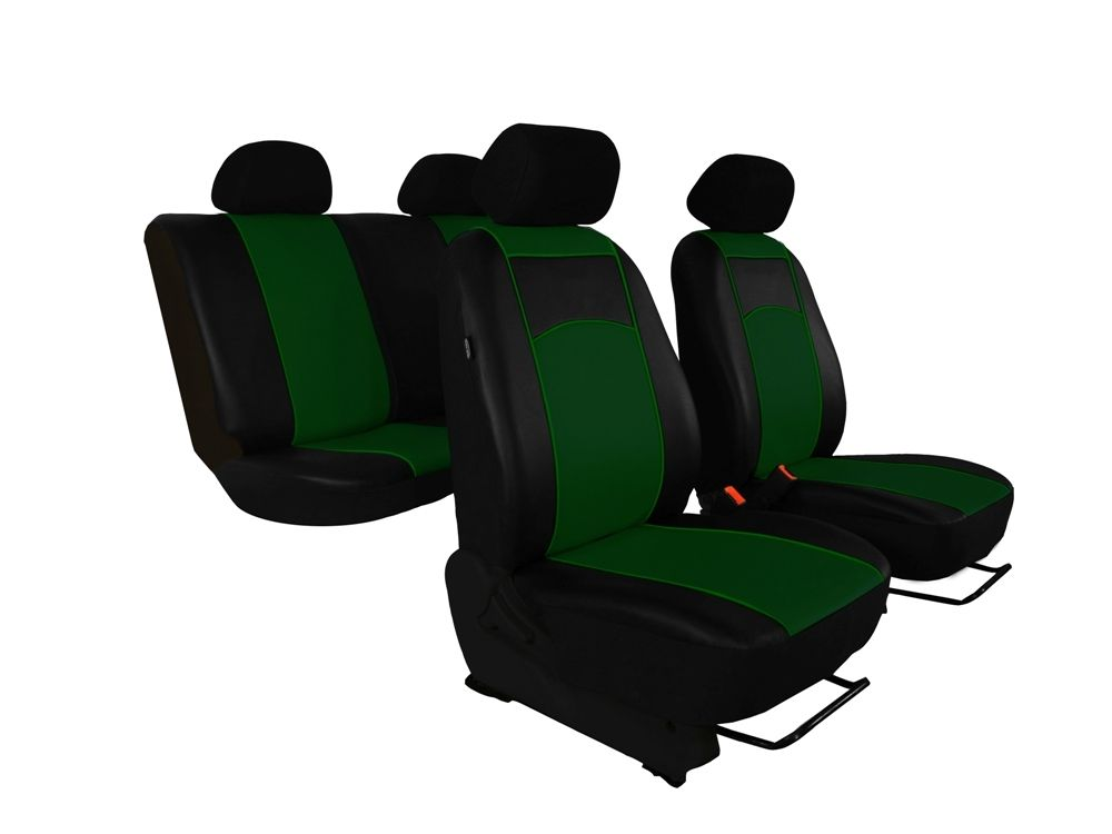Autopotahy Škoda Rapid, kožené Tuning, se zadní loketní opěrkou, zelené