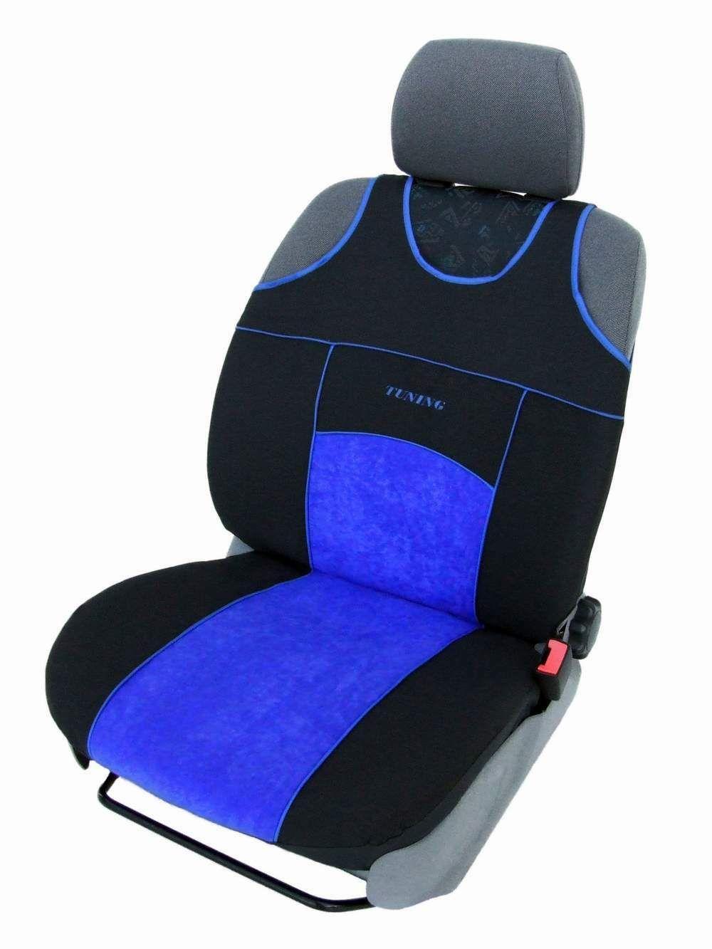 Autopotahy TUNING EXTREME s alcantarou, sada pro dvě sedadla, modré SIXTOL