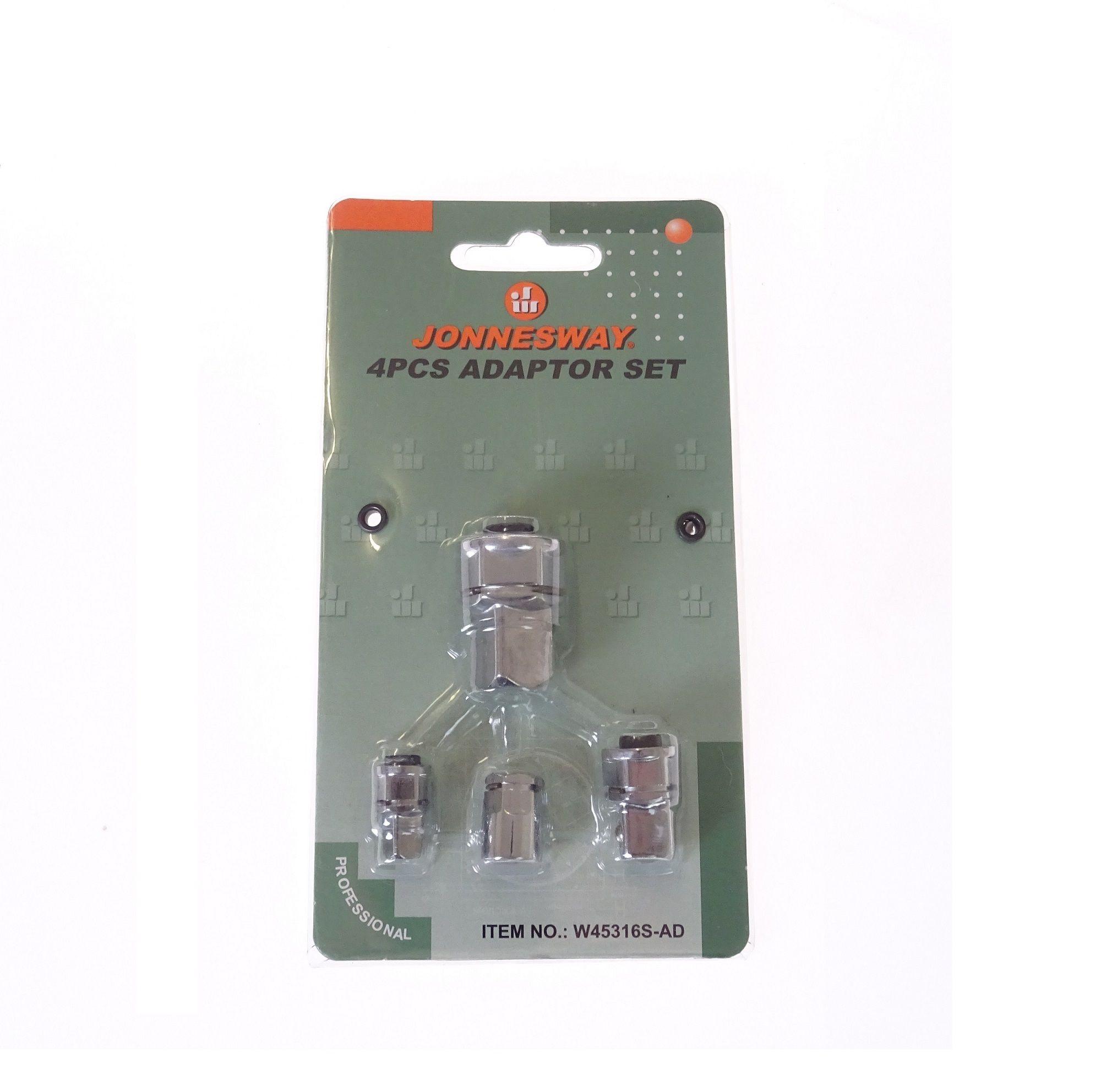 """Adaptéry pro ráčnové klíče, rozměry 1/4"""", 3/8"""", 1/2"""", sada 4 kusy - JONNESWAY W45316S-AD"""