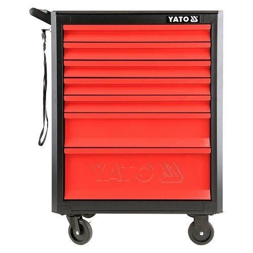 Skříňka dílenská pojízdná, 7 zásuvek, černo/červená, YATO-09000