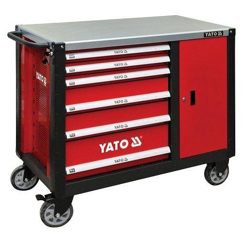 Skříňka dílenská pojízdná, 6 zásuvek +zavírací skříň červená, YATO-09002
