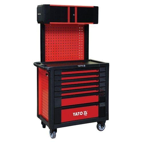 Skříňka dílenská pojízdná, 7 zásuvek+pevná záda s vrchní skříňkou, červená, YATO-09008