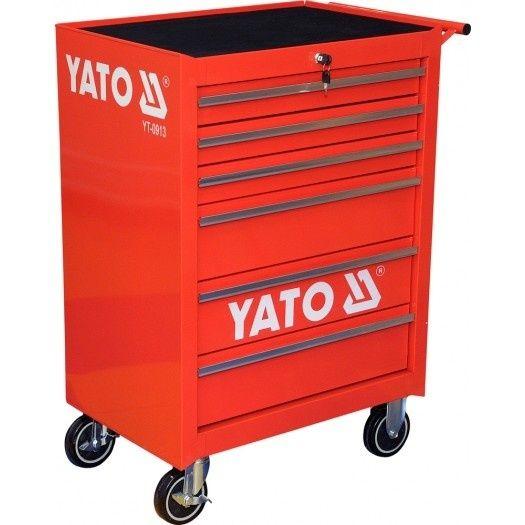 Fotografie Pojízdná dílenská skříňka, 6 zásuvek, červená, YATO