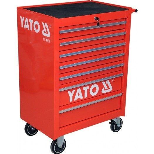 Fotografie Pojízdná dílenská skříňka, 7 zásuvek, červená, YATO