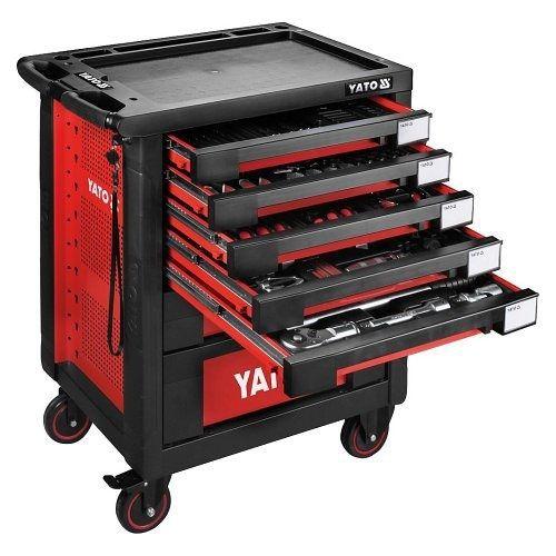 Pojízdná dílenská skříňka s nářadím, 165ks, 7 zásuvek, YATO-55293