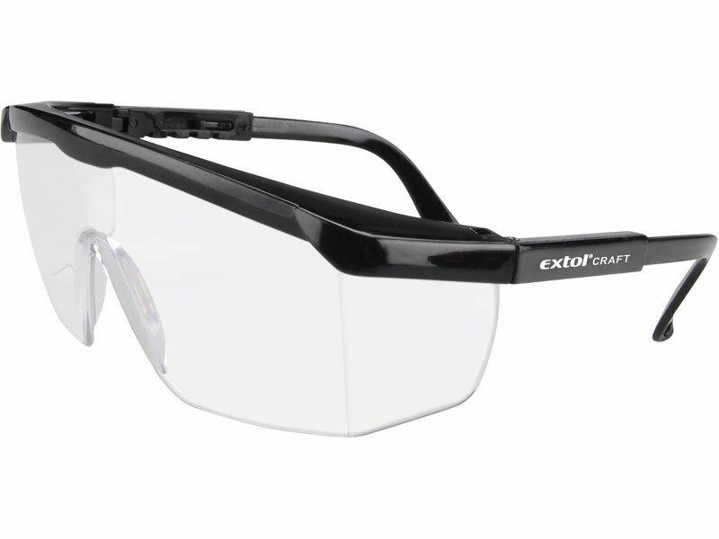 Brýle ochranné čiré, nastavitelná délka nožiček, zorník třídy F proti oděru, EXTOL CRAFT