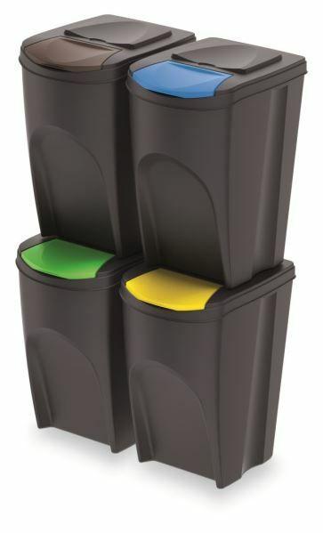 Sada 4 odpadkových košů SORTIBOX ANTRACIT 392x293x680 / 35L PROSPERPLAST
