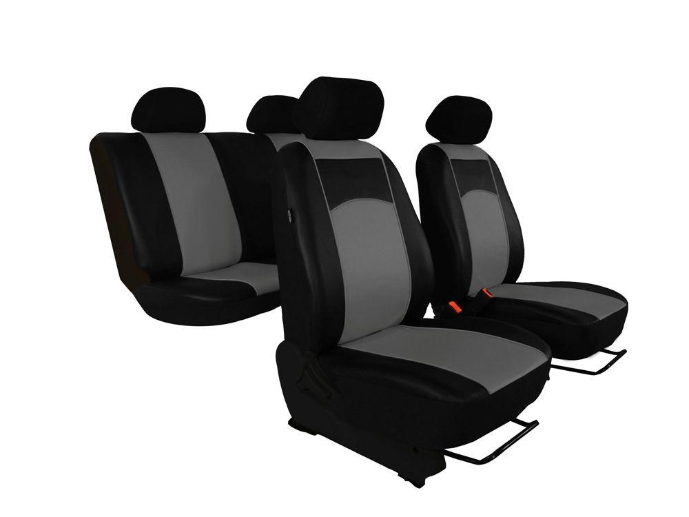 Autopotahy Škoda Fabia II, kožené Tuning černošedé, dělené zadní sedadla