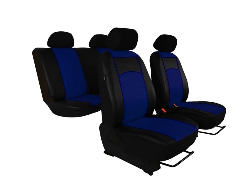 Autopotahy Škoda Octavia I TOUR kožené Tuning, dělené, 5 opěrek hlavy, modré