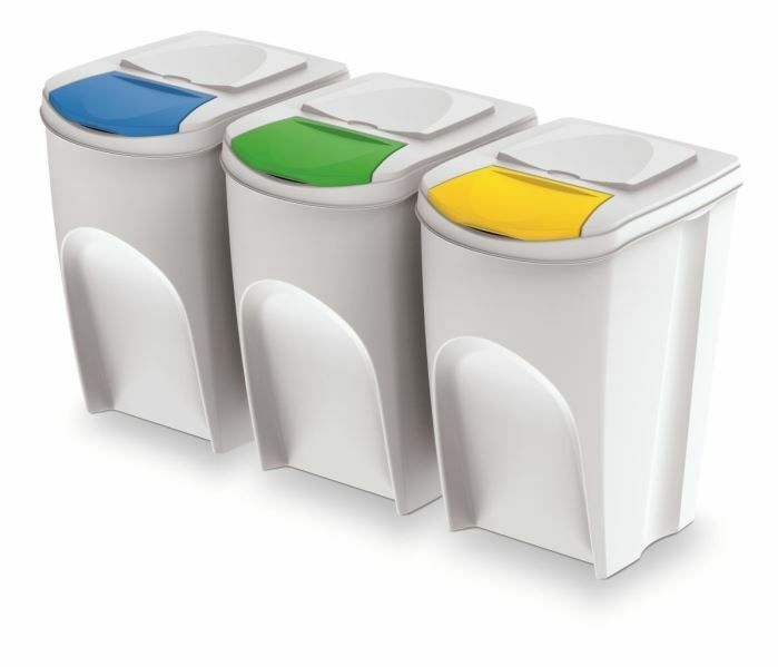 Sada 3 odpadkových košů SORTIBOX Bílá 392x293x620 / 35L PROSPERPLAST