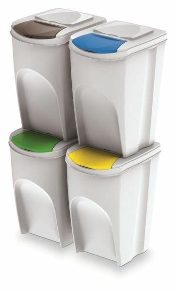 Sada 4 odpadkových košů SORTIBOX bílá 392x293x680 / 35L PROSPERPLAST