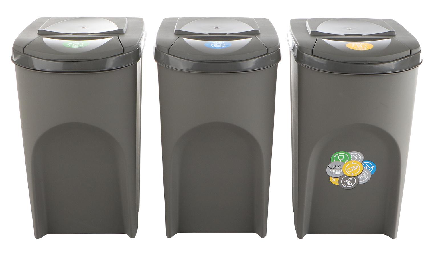 Sada 3 odpadkových košů SORTIBOX Šedý kámen 392x293x620 35L s šedým víkem a nálepkami PROSPERPLAST