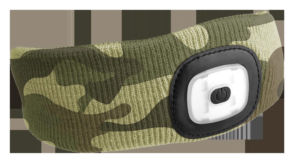 Čelenka s čelovkou 45lm, nabíjecí, USB, univerzální velikost, maskáčová SIXTOL
