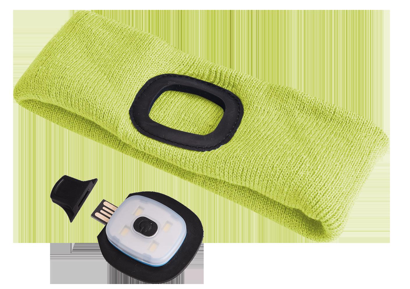 Čelenka s čelovkou 45lm, nabíjecí, USB, univerzální velikost, fluorescentní žlutá SIXTOL