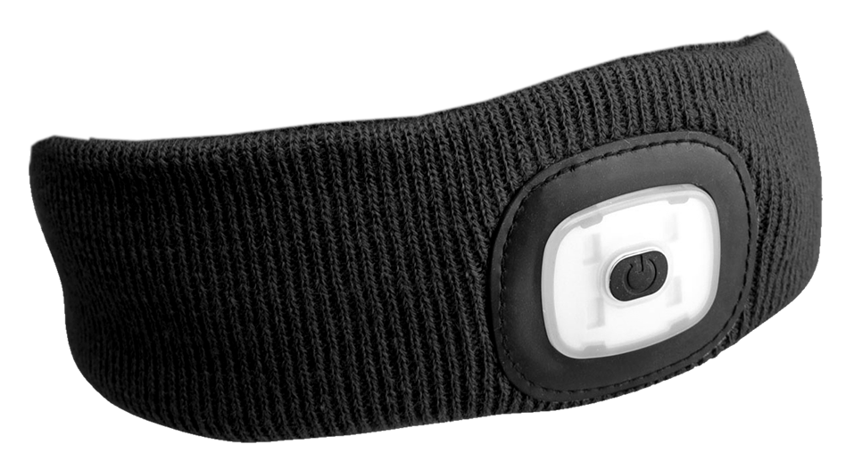 Čelenka s čelovkou 45lm, nabíjecí, USB, univerzální velikost, černá SIXTOL