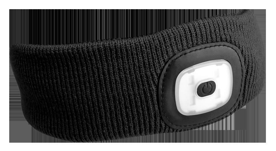 Čelenka s čelovkou 180lm, nabíjecí, USB, univerzální velikost, černá SIXTOL