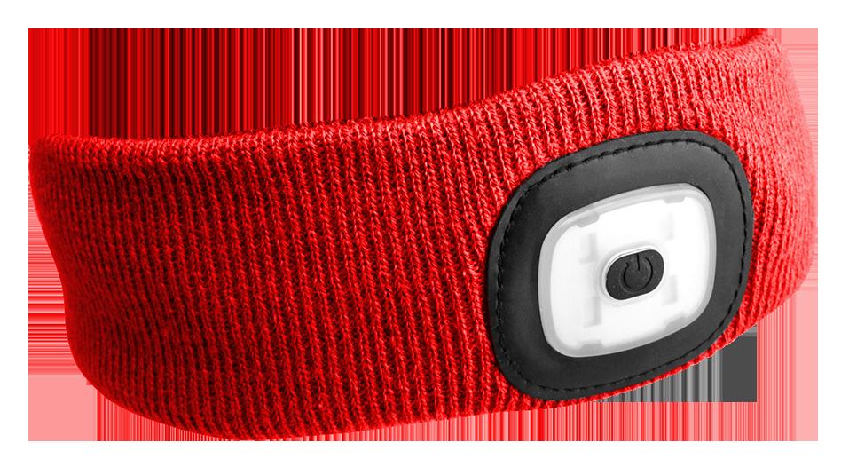 Čelenka s čelovkou 45lm, nabíjecí, USB, univerzální velikost, červená SIXTOL
