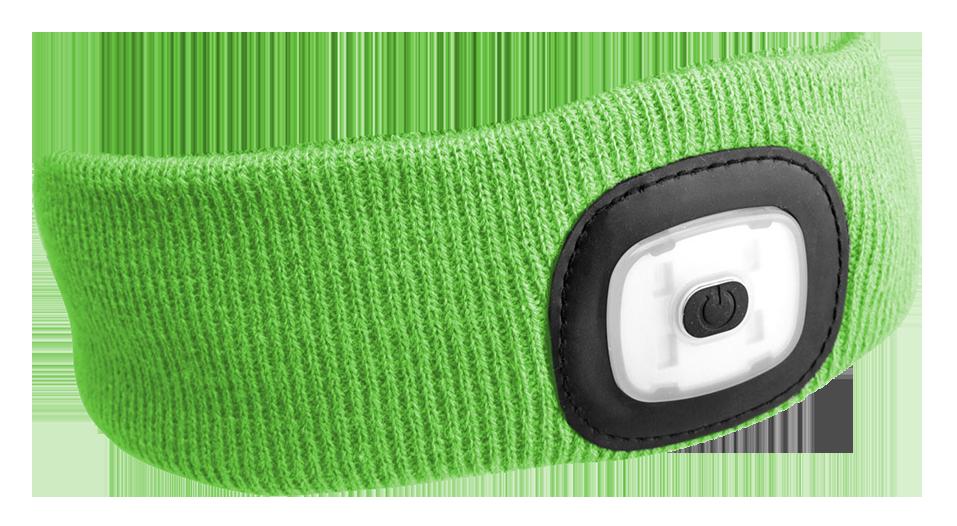 Čelenka s čelovkou 180lm, nabíjecí, USB, univerzální velikost, fluorescentní zelená SIXTOL