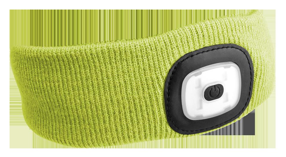 Čelenka s čelovkou 180lm, nabíjecí, USB, univerzální velikost, fluorescentní žlutá SIXTOL