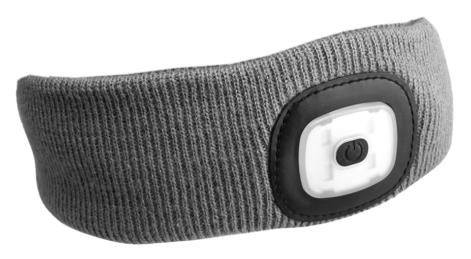 Čelenka s čelovkou 180lm, nabíjecí, USB, univerzální velikost, světle šedá SIXTOL