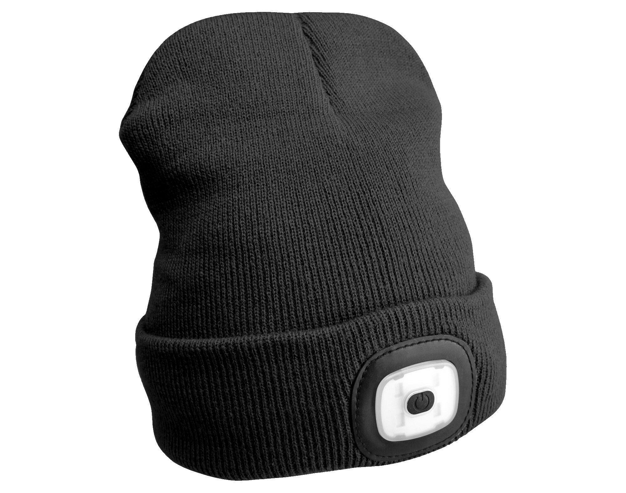 Čepice s čelovkou 180lm, nabíjecí, USB, univerzální velikost, černá SIXTOL