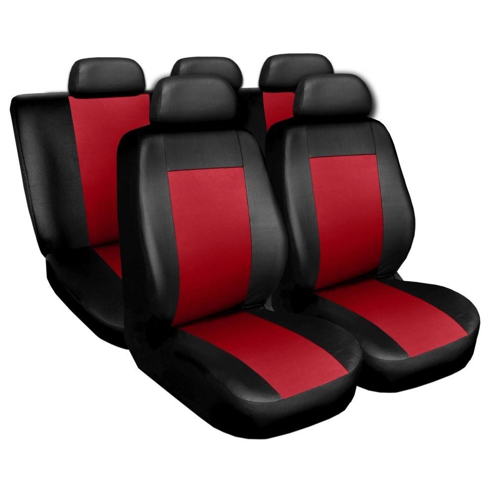 Autopotahy kožené COMFORT černočervené SIXTOL