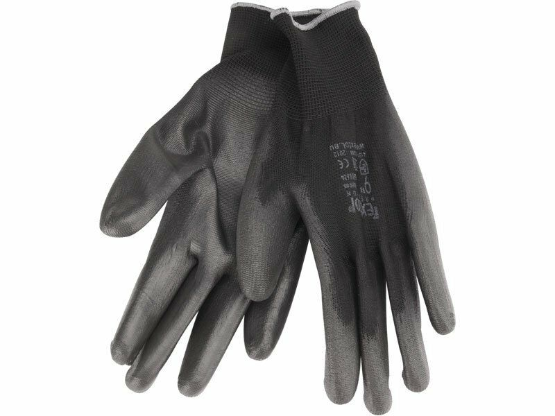 """Rukavice z polyesteru polomáčené v PU, černé, velikost 10"""", EXTOL PREMIUM"""