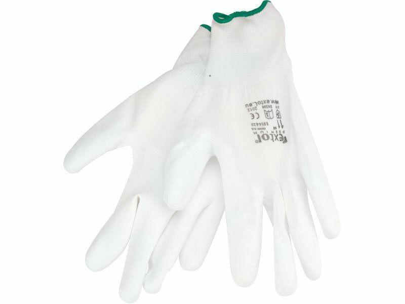 """Rukavice z polyesteru polomáčené v PU, bílé, velikost 8"""" EXTOL-PREMIUM"""