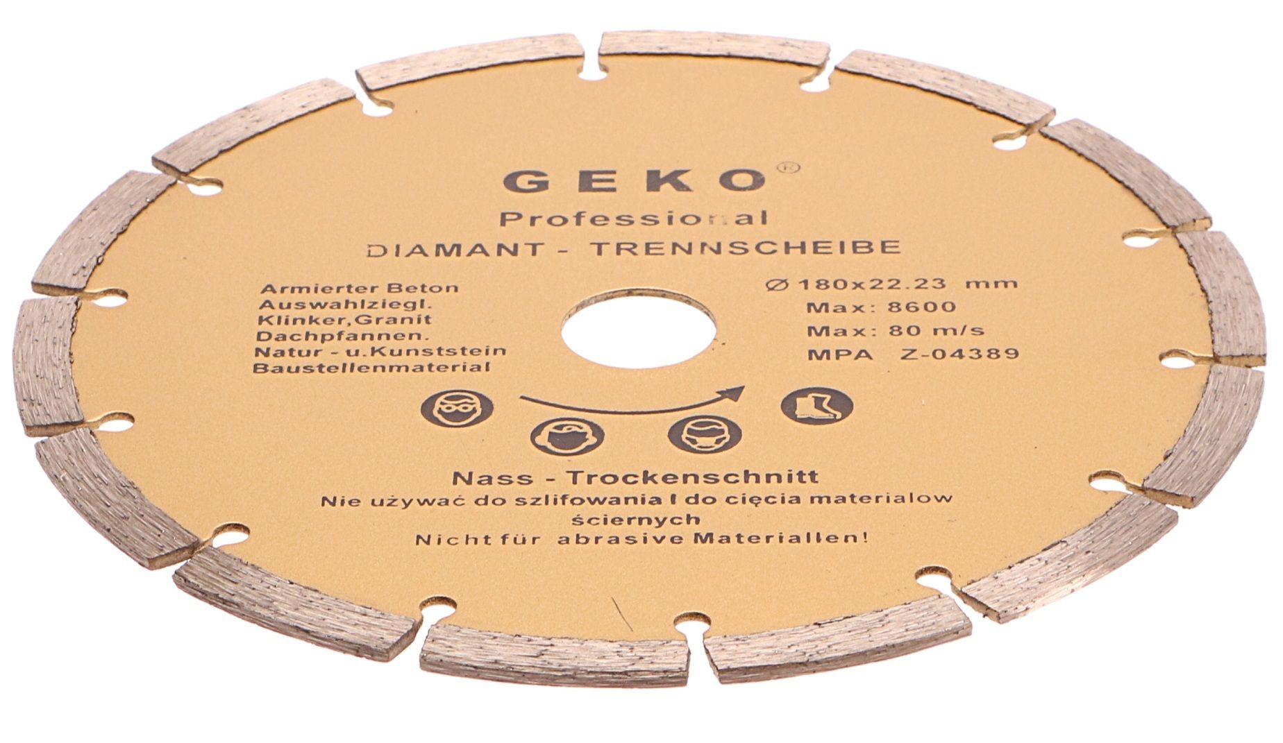 Diamantový řezný kotouč segmentový, 180x22mm GEKO