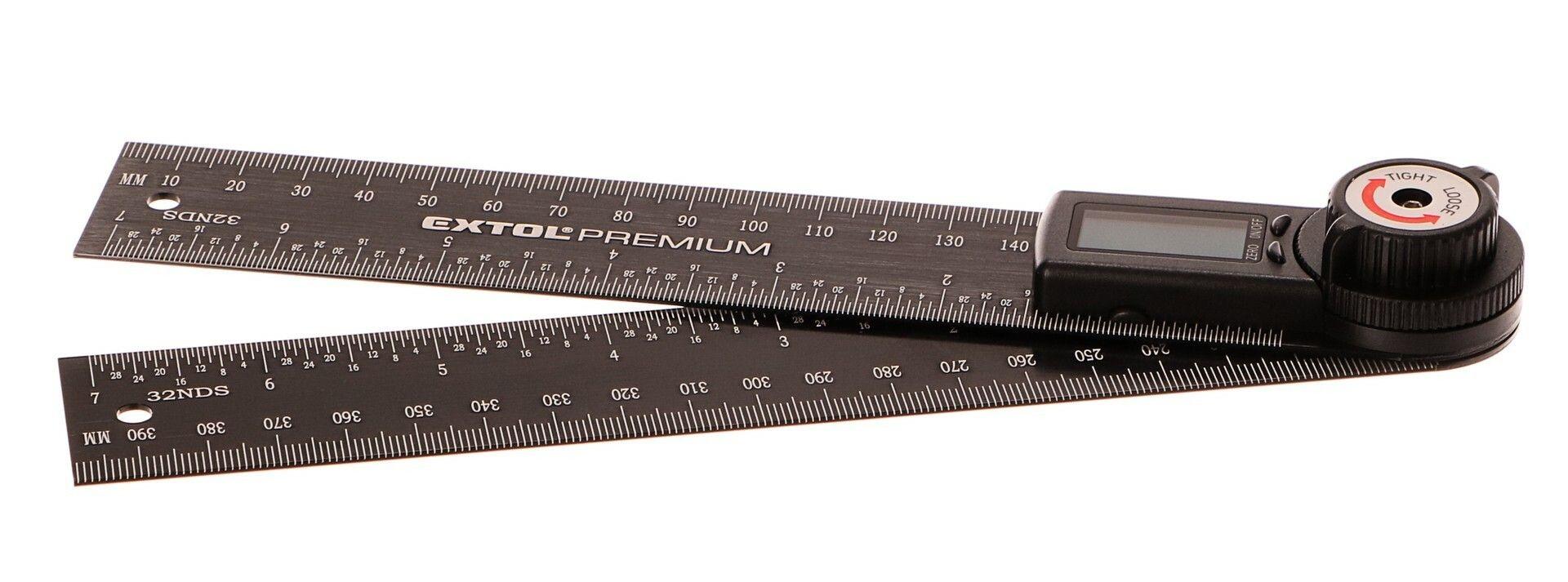 Úhloměr digitální, 200mm, s pravítkem, nerez EXTOL-PREMIUM
