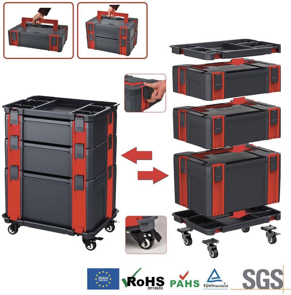 Modulový 5-dílný vozík na nářadí se samostatnými kufry Genborx SML5