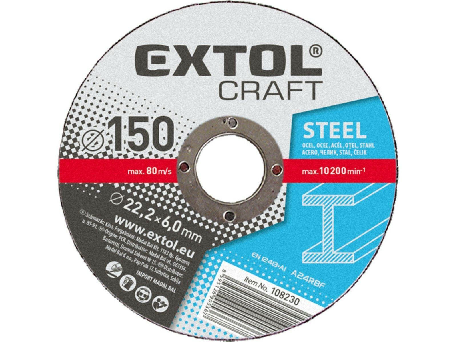 Kotouče brusné na kov, 5ks, 180x6,0x22,2mm EXTOL-CRAFT